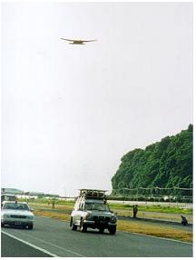会社初期段階試験写真 地上からの電力送電試験時写真